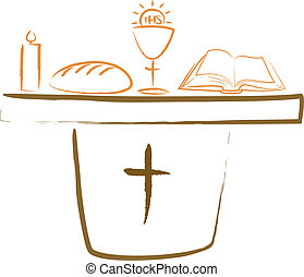 holy communion - altar and religiou - christian symbols -...