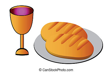 Holy Communion -bread, wine and chalice