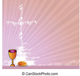 Holy Communion - Communion - Bread, wine and chalice on...