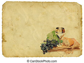Holy communion elements on old paper background. Isolated on whi