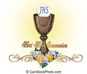 Image and illustration composition for First Holy Communion Invitation Border or frame with gold chalice, Host, flowers, text and copy space