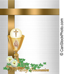 Image and illustration composition for First Holy Communion Invitation Border or frame with gold chalice Host flowers text and copy space