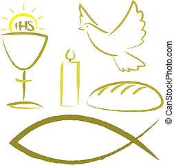 christian symbols - ichtys, holy spirit , body and blood of christ