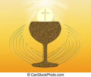 Holy Communion - Gold communion chalice with eucharist and...