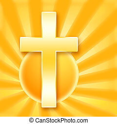 Holy Cross - Christian holy %u0441ross in shining rays of ...