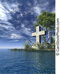 holy cross - stone cross at water landscape - 3d...