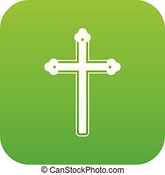 Holy cross icon digital green for any design isolated on...