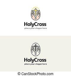 Holy cross in the hands. Christian church vector logo. Religion illustration.
