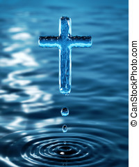 Cross - Holy Cross of water ripple - religious metaphor