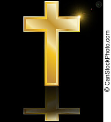 holy cross symbol of the Christian faith on a black background with reflection vector illustration