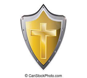 holy cross symbol of the Christian faith on a black metal...