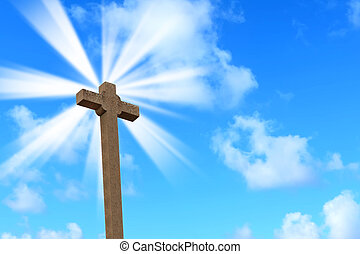 holy cross under a bright sun