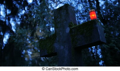 Holy cross with Candle - Cemetery, cross with Candle night