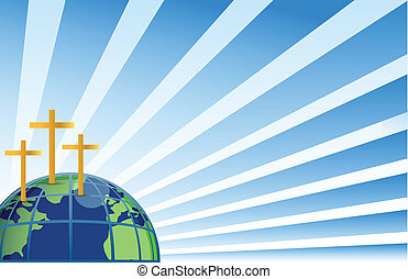 Holy crosses in top of the earth illustration isolated over white