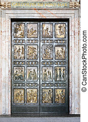 The famous Holy Door at St. Peter?s Basilica in Vatican. Rome, Italy