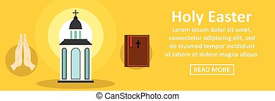 Holy Easter banner horizontal concept. Flat illustration of...