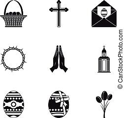 Holy Easter icon set, simple style