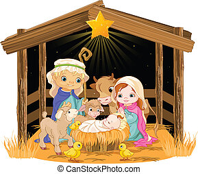 Holy Family at Christmas night - Christmas nativity scene...