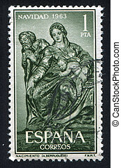 Holy Family by Alonso Berruguete - SPAIN - CIRCA 1963: stamp...