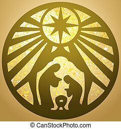 Holy family Christian silhouette icon vector illustration gold  background. Scene of the Holy Bible