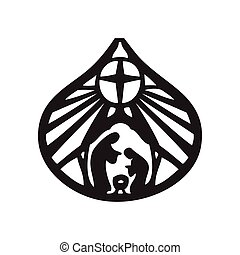 Holy family Christian silhouette icon vector illustration on white background