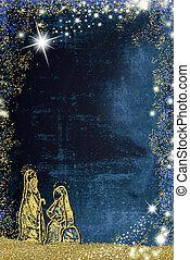 Abstract Christmas Nativity Scene, Holy Family greetings cards. Abstract freehand drawing of Holy Family with golden glitter on blue paper background with copy space for message, vertical image.