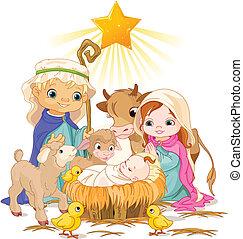 Holy Family - Christmas nativity scene with holy family.