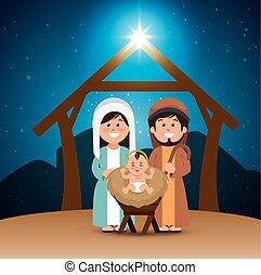 holy family merry christmas manger