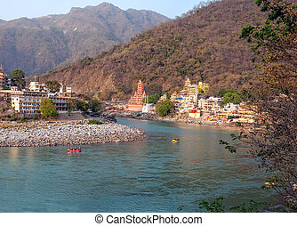 Holy Ganges river that flows through Rishikesh (the world ...