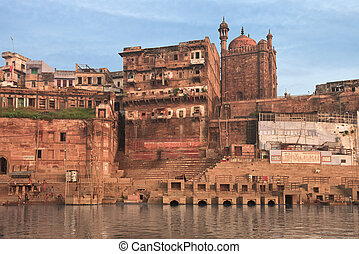 Holy ghat of varanasi, dead city - A view of holy ghats of...