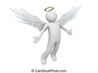Holy guardian angel - 3d characters isolated on white ...