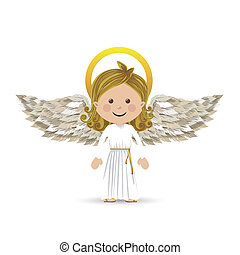 holy guardian angel over white background vector...