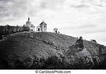 Holy hill, Mikulov, Czech republic, colorless