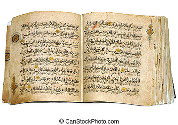 Holy Islamic old book Koran opened and isolated