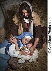 Holy Jesus in nativity scene
