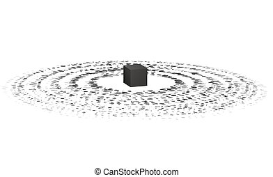 Holy Kaaba in Mecca. Hajj and umrah. Abstract illustration....