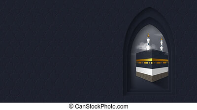 Holy Kaaba in the arabic window with moving clouds. Realistic style, night dark blue background. Design for islamic celebration Hajj or Eid al-Adha with copy space. 4K video animation.