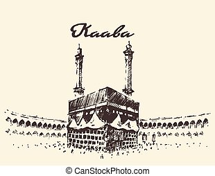Holy Kaaba Mecca Saudi Arabia muslim drawn sketch - Holy...