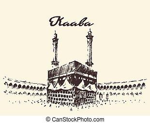 Holy Kaaba Mecca Saudi Arabia muslim drawn sketch - Holy...