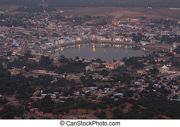 holy lake in Pushkar at night