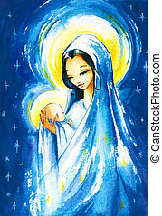 Holy Mary - Nativity scene:Mary with the young Jesus Christ...