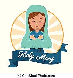 holy mary preach glory catholic image vector illustration