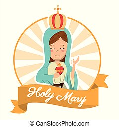 holy mary sacred heart belief spirit image vector...