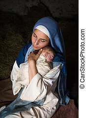 Holy motherhood - Live Christmas nativity scene in an old...