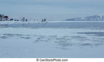 Holy Nose Peninsula. Beautiful winter Lake Baikal.