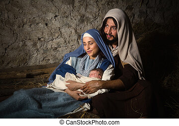 Holy parents in nativity scene