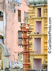Holy piller before hindu temple