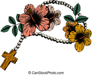 Holy rosary beads  illustration. Prayer Catholic chaplet with a cross