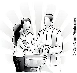 Holy Sacrament Baptism - Black and White Illustration ...