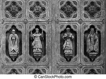 Holy Sculptures - Sculptures on the large middle gate of the...
